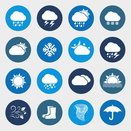 windy day: Weather forecast. Set of round icons