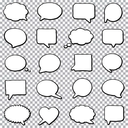 Hand drawn bubble speech set on a transparent background