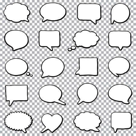 Ręcznie rysowane mowy bańki na przezroczystym tle
