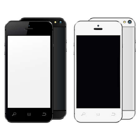 palmtop: New realistic mobile phones mockups front and back with blank screen isolated. Vector illustration.