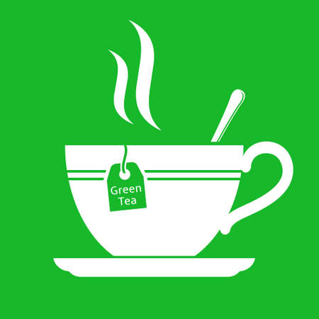 Green tea cup flat vector icon Illustration