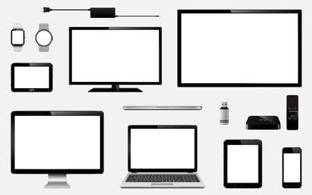 Conjunto de TV realista, monitor de computadora, portátiles, tableta, teléfono móvil, reloj inteligente, impulsión del flash del usb, receptor de la caja de la TV, dispositivo del sistema de navegación del GPS y enchufe eléctrico. Aislado en fondo transparente. Vector eps10