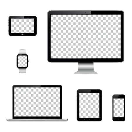 Conjunto de monitor de computadora realista, computadora portátil, tableta, teléfono móvil, reloj inteligente y dispositivo de sistema de navegación GPS con pantalla transparente Ilustración de vector