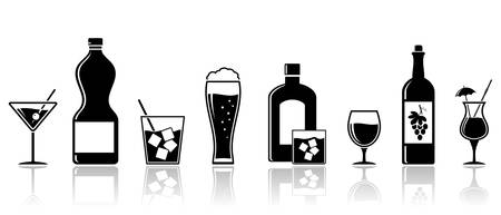 Alcohol drinks icons. Banner design. Cocktails, wine, whiskey, beer. Vector set.