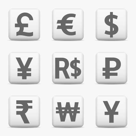 Currency Icons Set World Money Symbols Web Buttons Vector Stock