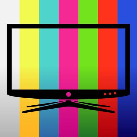 Applique tv set on test image background