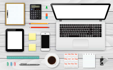 modern office: Workplace top wiev. Office and business work elements set. Mobile devices and documents. Vector illustration.