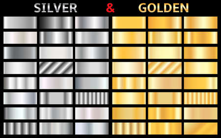 Vector set of gold and silver gradients