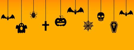 Halloween hanging ornaments on orange background. Vector illustration.