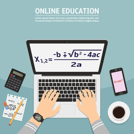 Flat design modern vector illustration concept of online education.