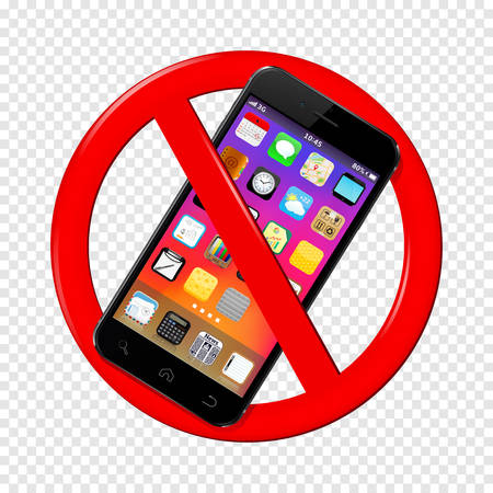 Do not use mobile phone sign isolated on transparent background.