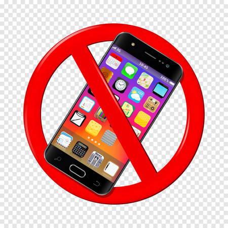 No cell phone sign isolated on transparent illustration.