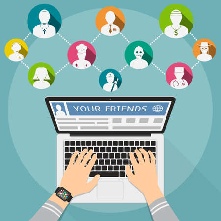 pastor: Friends in social networks. Flat design concept. Male hands type a message in social networks.