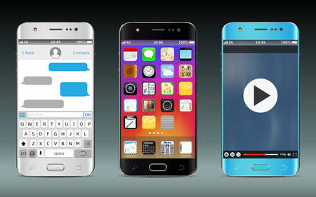multimedia icons: Smart phones with icons, messaging sms app and video player widget.