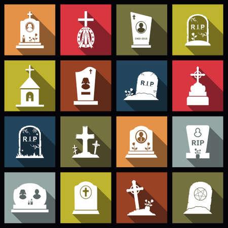 Set di icone di design piatto croci cimitero, lapidi e lapidi. Illustrazione vettoriale