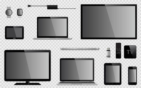 Set of realistic TV, computer monitor, laptops, tablet, mobile phone, smart watch, usb flash drive, TV box receiver, GPS navigation system device and charger power adapter. Isolated on transparent background. Vector eps10