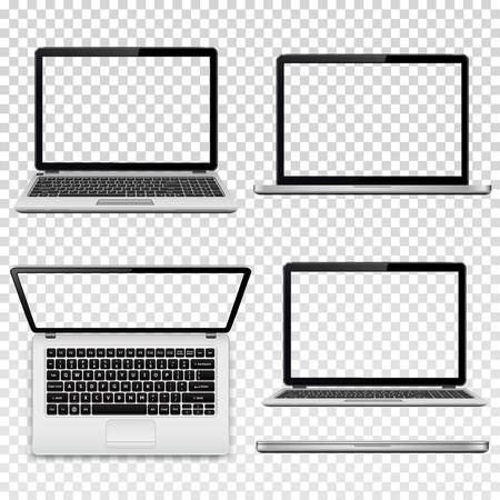 Laptops with transparent screen. Illustration