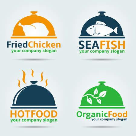 Gebratenes Huhn, Seefisch, Bio-Lebensmittel und Hot-Food-Vektor-Logo-Design-Vorlagen. Standard-Bild - 89980911
