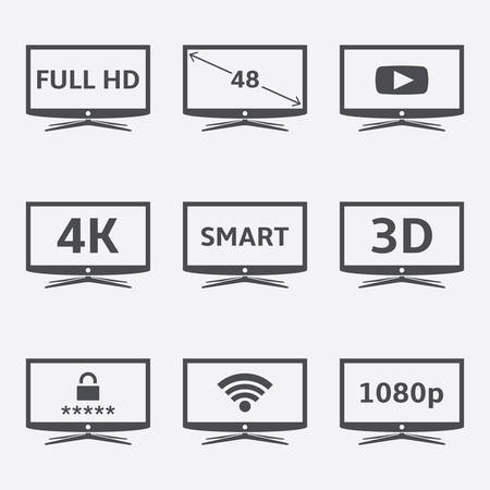 Modern LCD Smart TV icons set. Vector illustration EPS10 Illustration