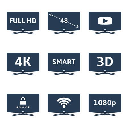 Modern smart TV icons vector set Illustration