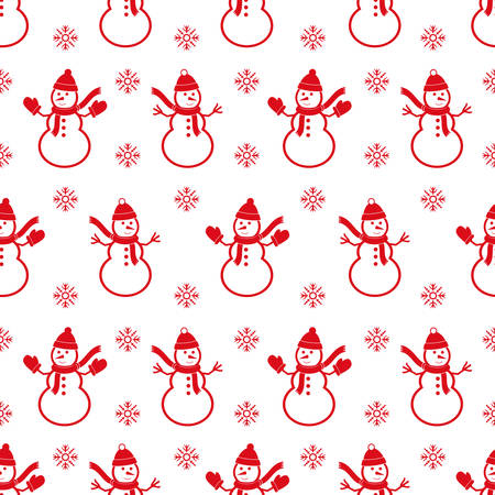 Background with snowmans. Christmas seamless pattern.