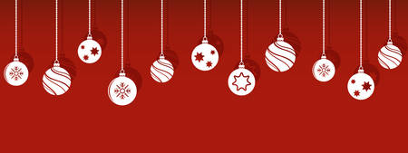 Christmas balls decorations isoladed hanging ornaments with shadow Illustration