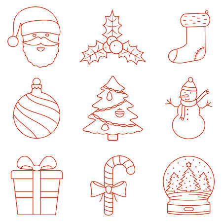 Christmas line icons Illustration