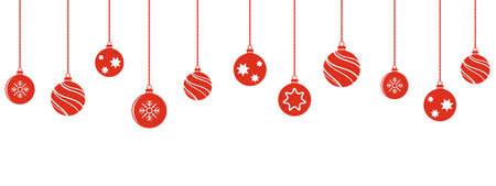 Christmas balls decorations. Christmas hanging ornaments. Vector illustration.  イラスト・ベクター素材