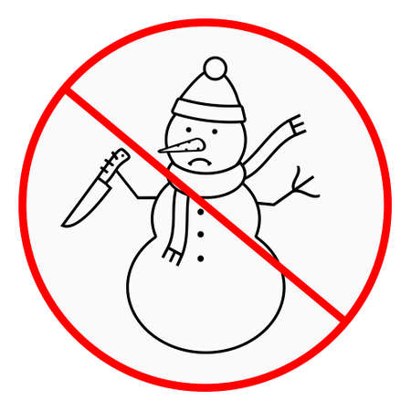 Stop angry snowman sign. Vector illustration Illustration