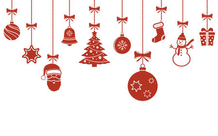 Christmas hanging ornaments background. Christmas banner.