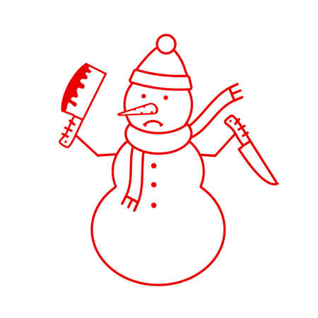 Snowman with knives on white background. Vector illustration.