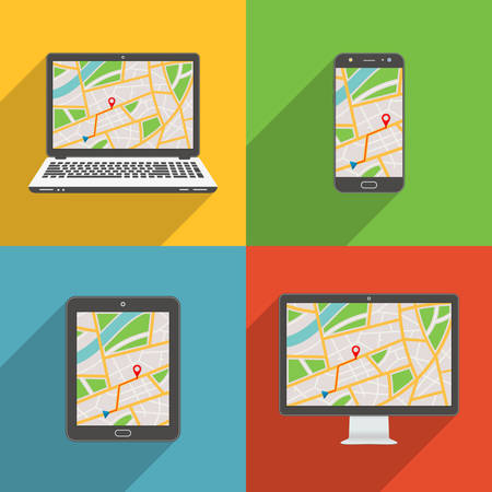 Flat design long shadow styled modern vector icon set of gadgets and devices with GPS map Çizim
