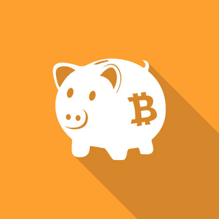 Bitcoin piggy bank icon Vectores