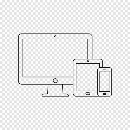 Modern digital devices thin line icon on transparent background. Vector illustration.