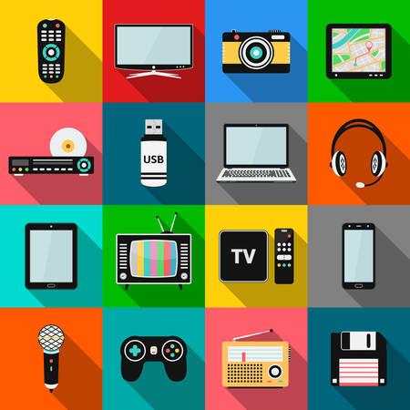 Conjunto de tecnologia e ícones de dispositivos multimídia com efeito de sombra longa