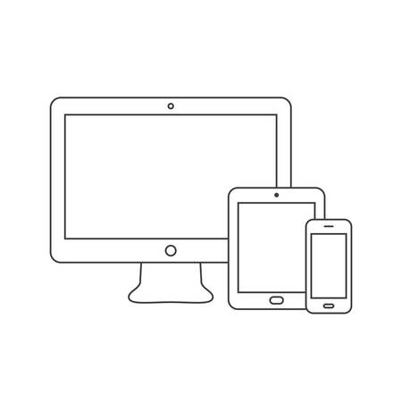 Electronic devices icon. Thin line vector illustration. Ilustração