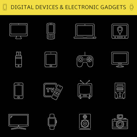 Set of thin line devices icons for mobile apps and web design. Vector illustration. Illustration