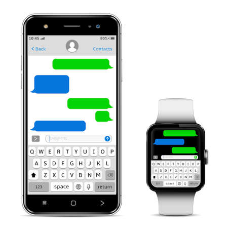 Chatting and messaging concept. Smart phone and smart watch with sms chat. Isolated on white background. Vector illustration.