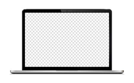 Laptop with Transparent Wallpaper Screen Isolated, Vector Illustration. Vectores