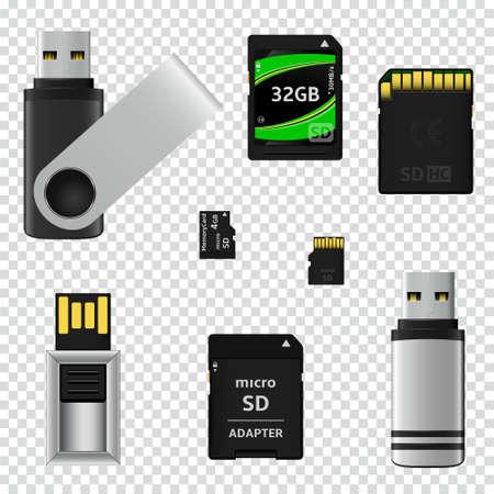 Dyski flash USB i karty pamięci na przezroczystym tle. Ilustracji wektorowych.