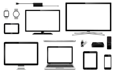 Modern digital devices. Set of realistic smart tv, computer monitor, laptop, tablet, mobile phone, smart watch, usb flash drive, gps navigation system device and tv box receiver with remote controller. Vector eps10 Illustration