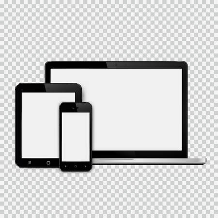 Set of modern technology devices template for responsive design presentation. Mockup consist of laptop, smartphone and tablet pc. Isolated on white background. Vector eps10