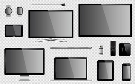 Set of realistic TV, computer monitor, laptop, tablet, mobile phone, smart watch, usb flash drive, TV box receiver, GPS navigation system device and electric plug. Isolated on transparent background. Vector eps10 Illustration