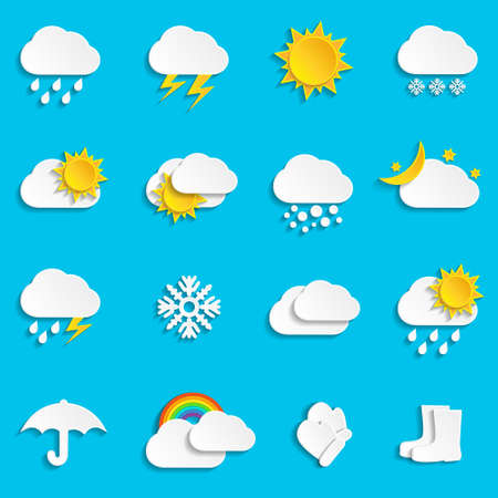 Abstract paper weather icons, paper art style. Vector illustration.