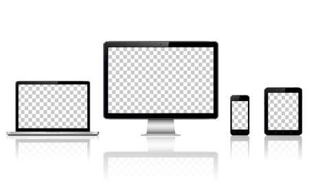 Realistic computer, laptop, tablet and mobile phone with transparent wallpaper screen isolated Çizim