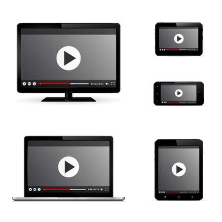 Modern digital devices with web video player on screen. Isolated on white background. Vector illustration. Ilustração