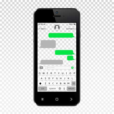Mockup of mobile messenger on smartphone transparent screen