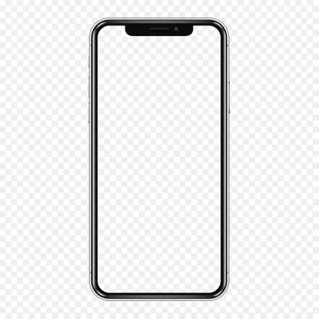Black phone mock up with transparent screen, isolated on transparent background.