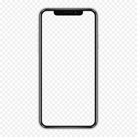 Zwarte telefoon mock-up met transparant scherm, geïsoleerd op transparante achtergrond.