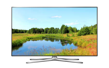 Smart TV screen isolated with nature wallpaper